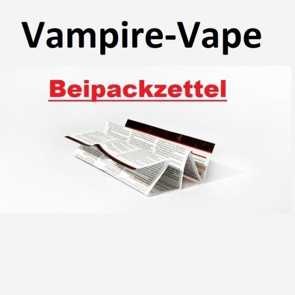 Vampire-Vape Beipackzettel für 2021 Konformität