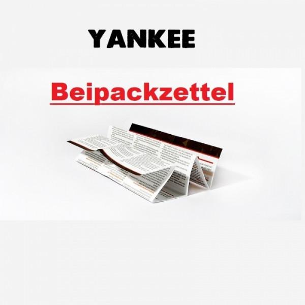 Yankee Beipackzettel für 2021 Konformität